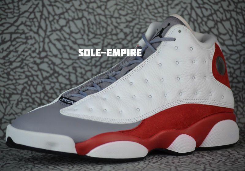 Nike Air Jordan 13 Retro Grey Toe Mens 414571-126 White Black True Red  Cement