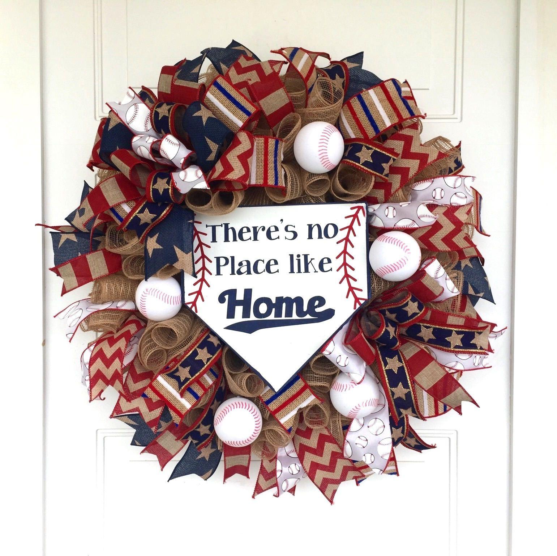 Baseball Wreath, Baseball Themed Wreath, Homeplate Wreath, Burlap Mesh Baseball
