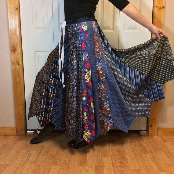 844edc09dc Bohemian Plus Size Maxi Skirt Made From NeckTies//Long Silk Skirt ...