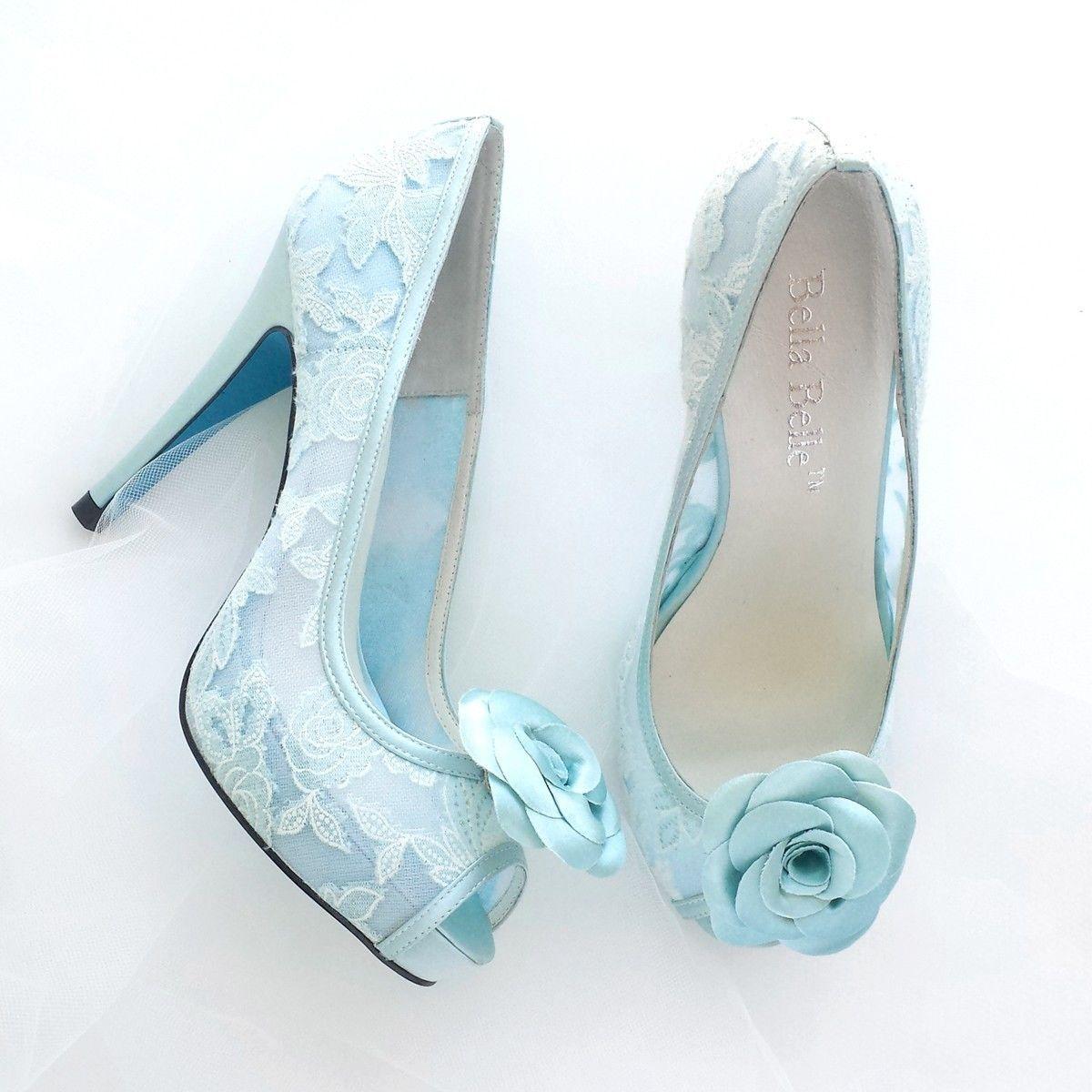 Something Blue Mint Rose Flower Lace Peep Toe Pumps Wedding Shoes ...