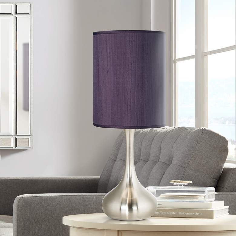 Eggplant Faux Silk Brushed Nickel Droplet Table Lamp 9v331 Lamps Plus Modern Table Lamp Art Glass Table Lamp Modern Table Lamp Design