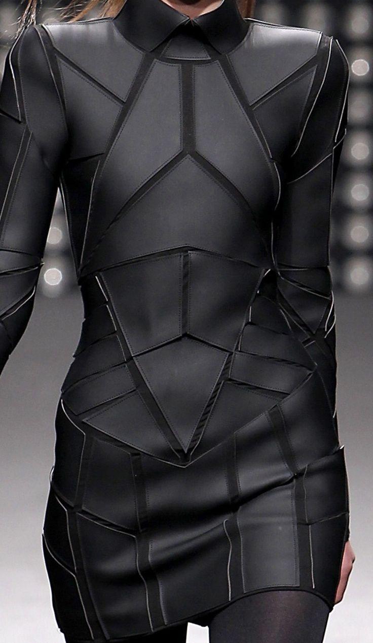 fc46adb4010e8 Geometric Fashion - black on black dress with stitched shape segments -  futuristic suit