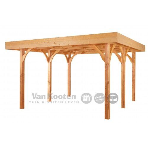 OP=OP LAATSTE MODEL!! Douglas Veranda met plat dak 400 x 400 cm Groen geimpregneerd! €1499,-
