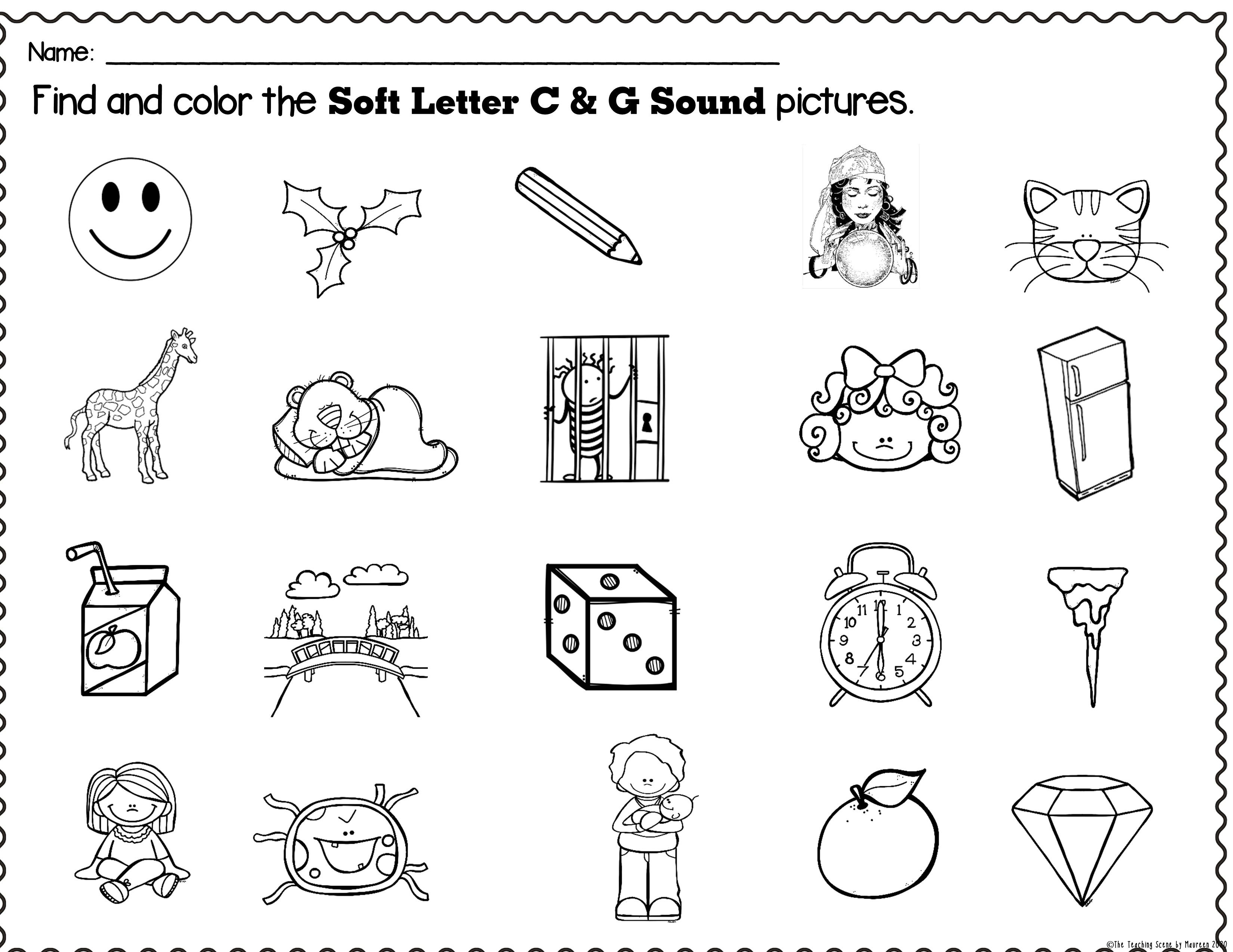Hard Soft Letter Sounds Of C G Packet Word Cards Letter Sounds Reading Center Activity