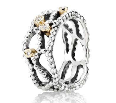 Pandora XmasChristmas Silver 14ct Gold and Diamond Delight Ring