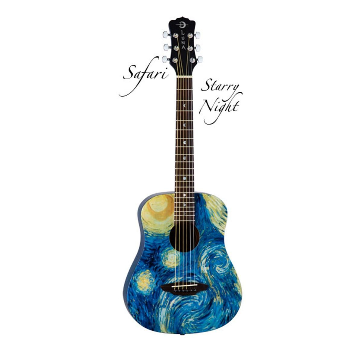 Luna Safari Starry Night Spruce Top Acoustic Guitar Translucent Blue Luna Guitars Ukulele Art Guitar