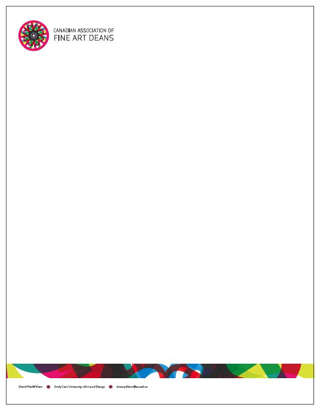 Alan Tom, Canadian Association of Fine Art Deans letterhead