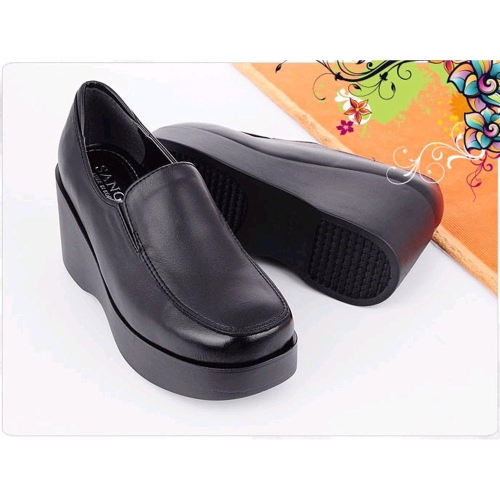 Black 7.5cm Wedges Platforms Loafers High Heels Comfort Women Shoes US  4.5~8 #