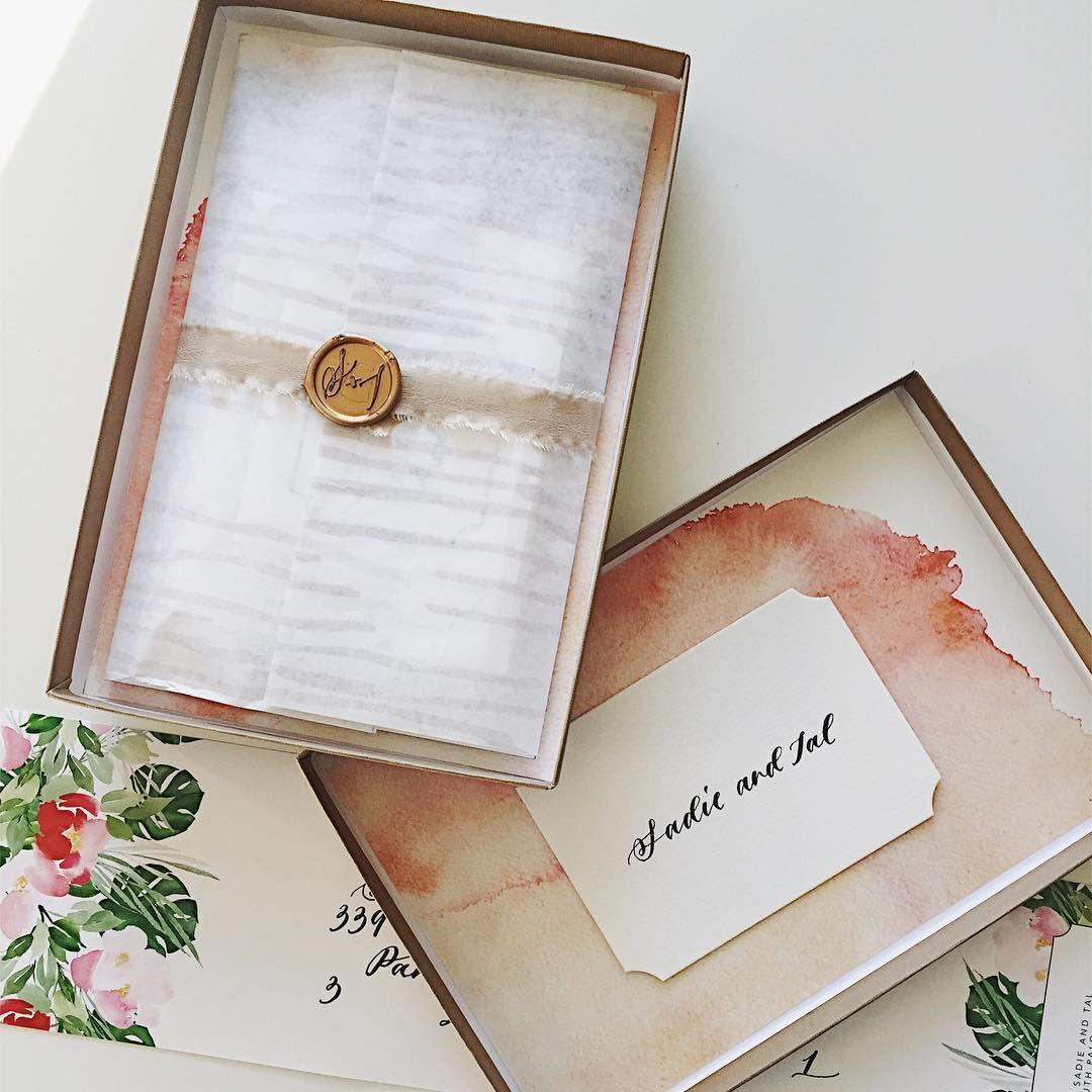 Boxed Wedding Invitation With Custom Wood Grain Tissue Paper Wax