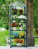 5 Tier Greenhouse Grow Rack Five Shelves by EarthCare Greenhouses. $34.99. Patio Deck greenhouse with 5 shelves for deck, patio, or balcony. During summer remove the cover and just use the shelves as a plant display. Sturdy shelves for pots and seed trays; plastic cover with full length roll up zipper. Dimensions when built: 74 H by 27 W by 19 D inches; each tier is 12-1/2 inches high. Ideal for seed propagation and plant growing and display. Why ship fruits, veggies, f...