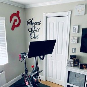 sweat the crazy out  home gym sign  yoga work out