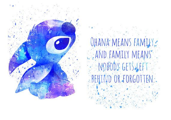 Lilo and Stitch, Ohana means family, Disney fan Art, Watercolor ...