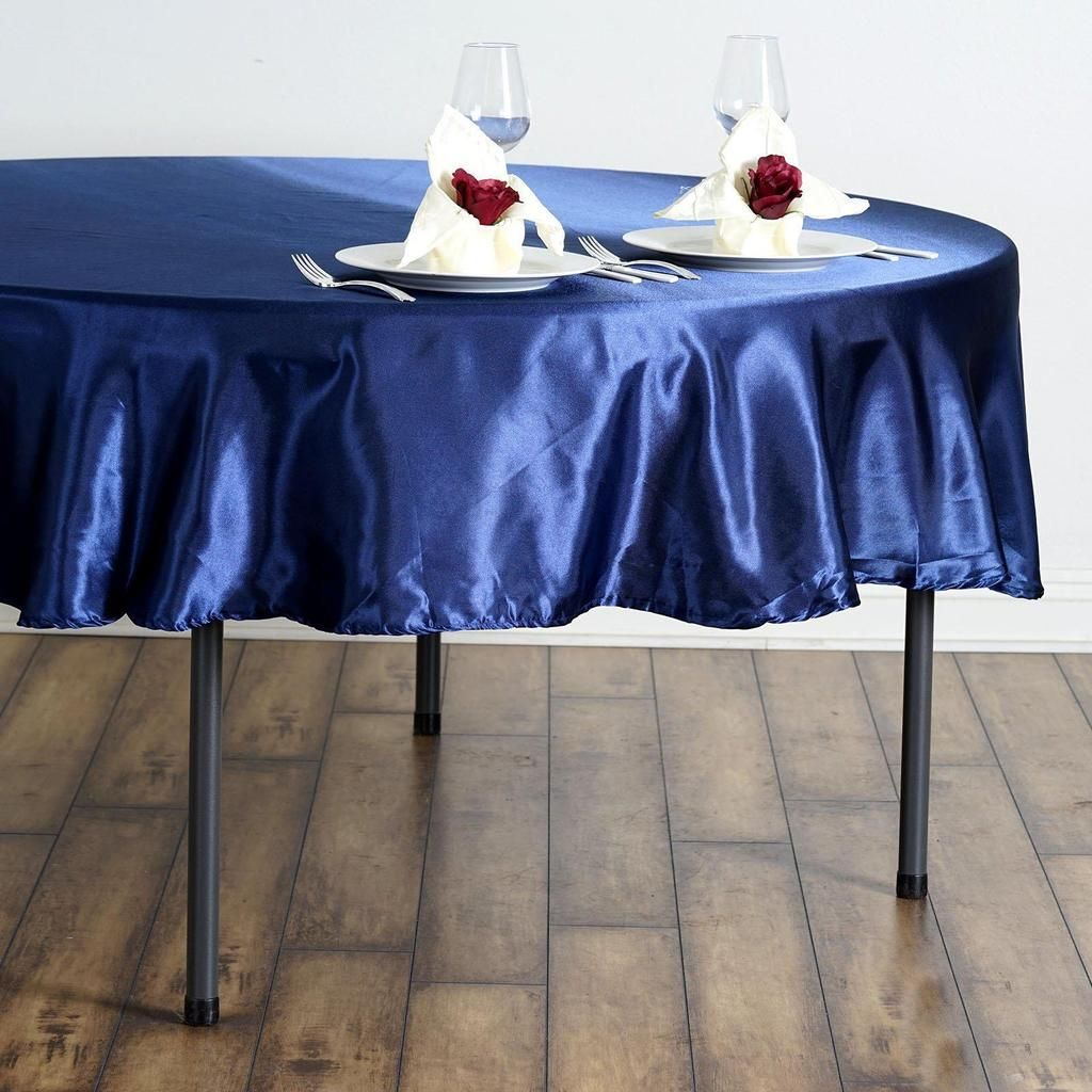 90 Navy Blue Satin Round Tablecloth In 2020 Round Tablecloth