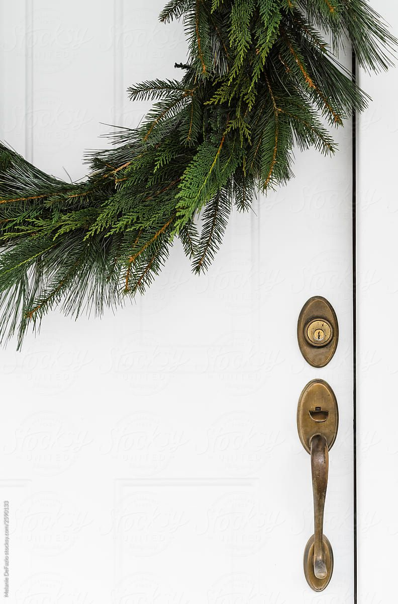 A beautifully homemade christmas wreath for the front door