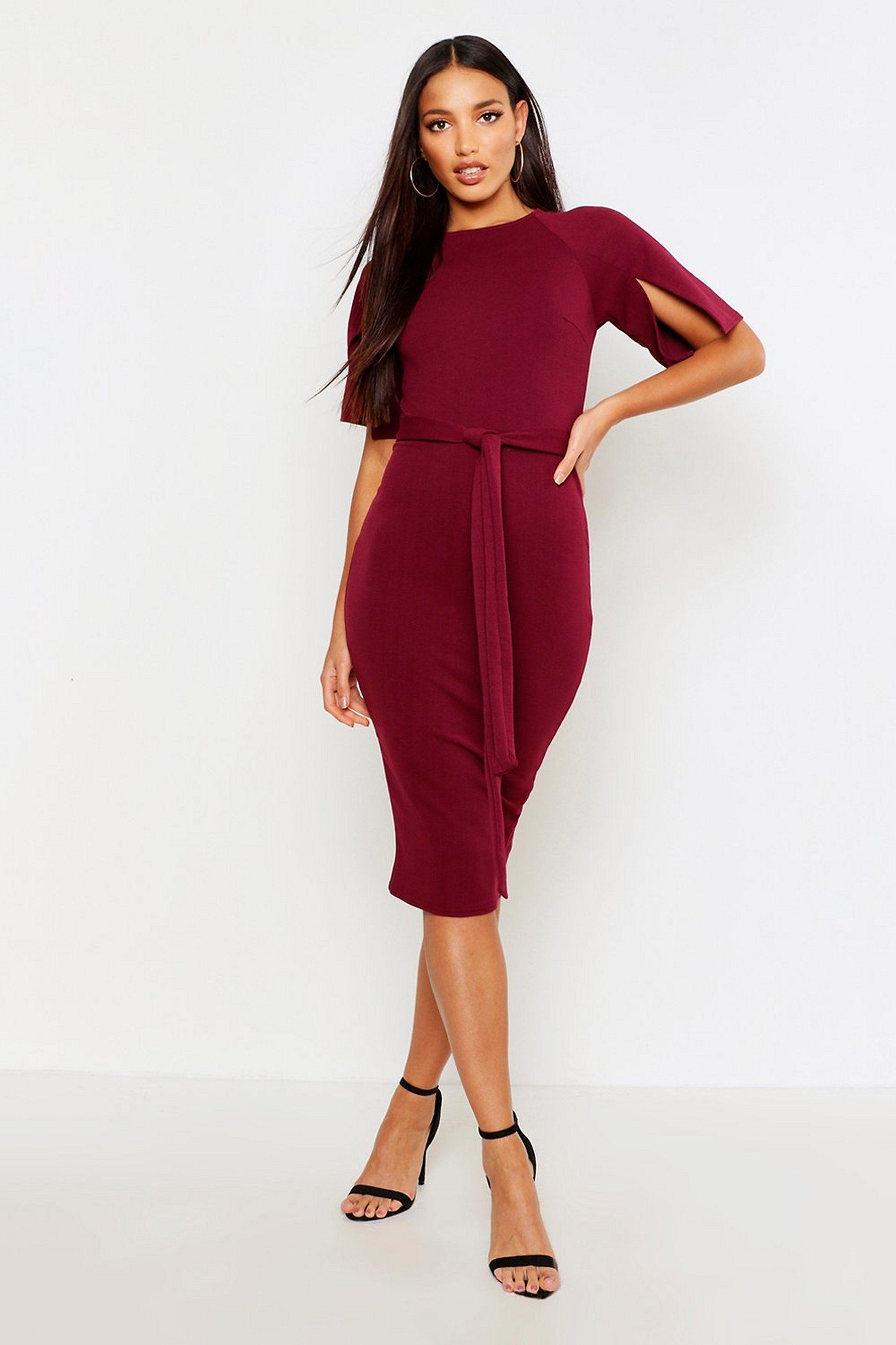 Split Sleeve Tie Waist Wiggle Midi Dress Boohoo Red Midi Dress Bodycon Fashion Split Sleeve Dress [ 3272 x 2181 Pixel ]