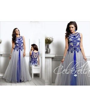98c37438e1 Back Embroidered Grey and Blue Net Indowestern Gown | Sunjoey ...