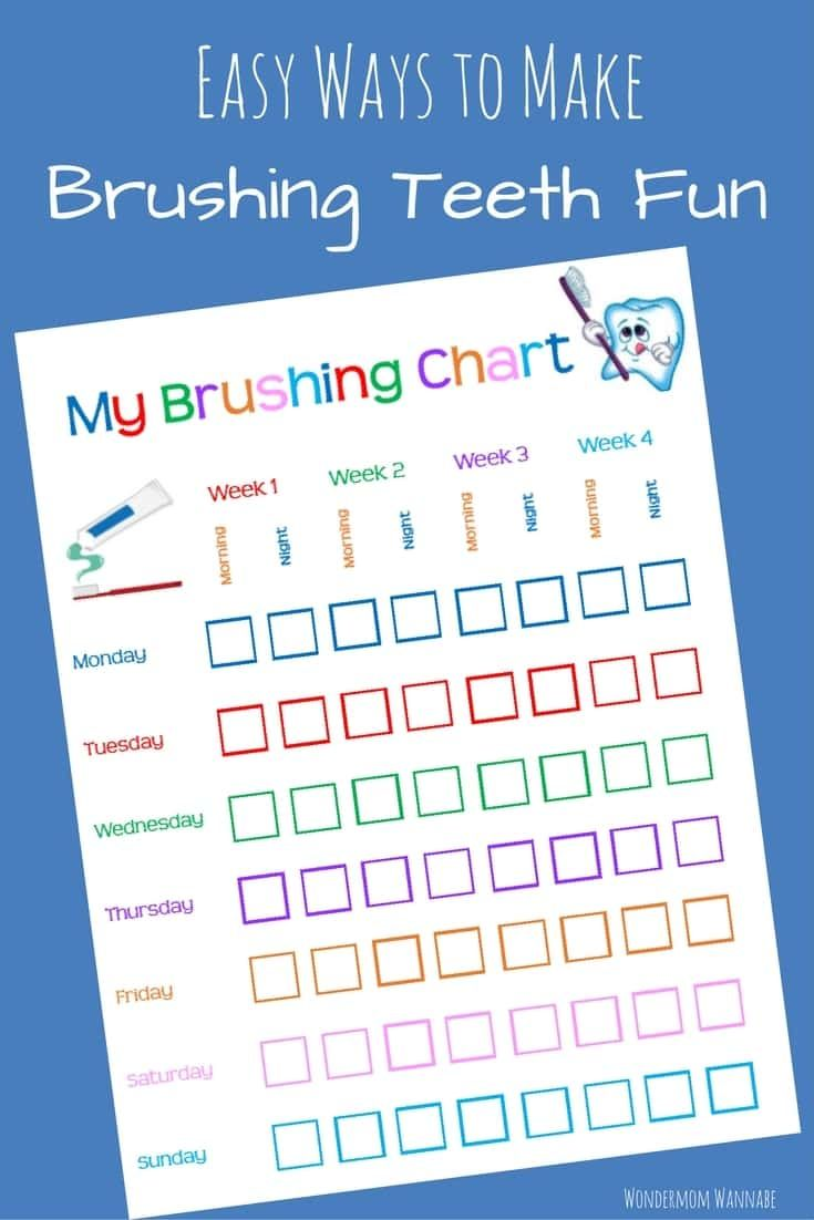Free Printable Tooth Brushing Chart Tooth Brushing Chart Brushing Teeth Tooth Chart