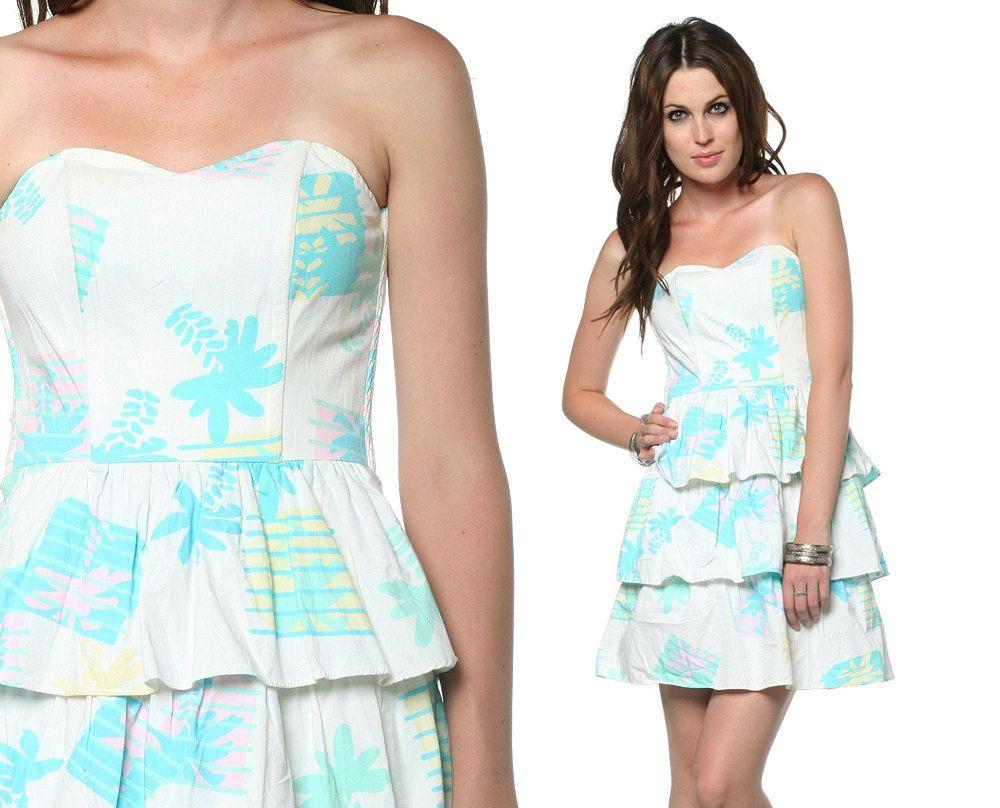 S sun dress strapless sweetheart neckline mini palm tree print