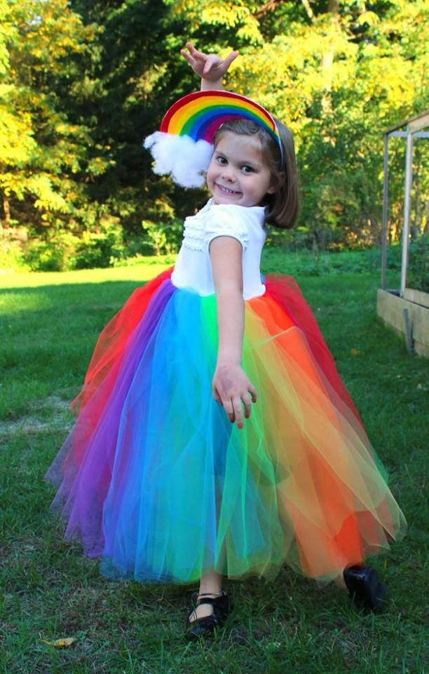 eb14ae50a9f85d DIY Rainbow Halloween Costume..white t-shirt bodice and tulle skirt ...