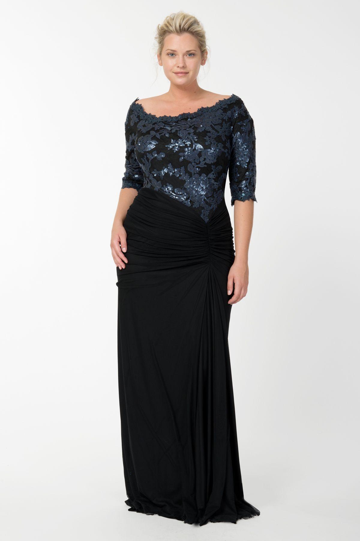 Plus size long dresses for wedding  Sequin Lace Asymmetric Gown in Prussian Blue  Black  Tadashi Shoji