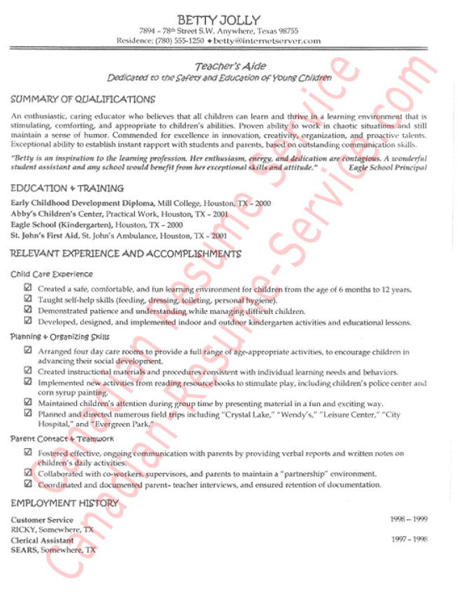 Teacher S Aide Resume Example For A Mom Who Had Completed Her Diploma In Early Childhood Development But Had Part Teacher Resume Teaching Resume Teachers Aide