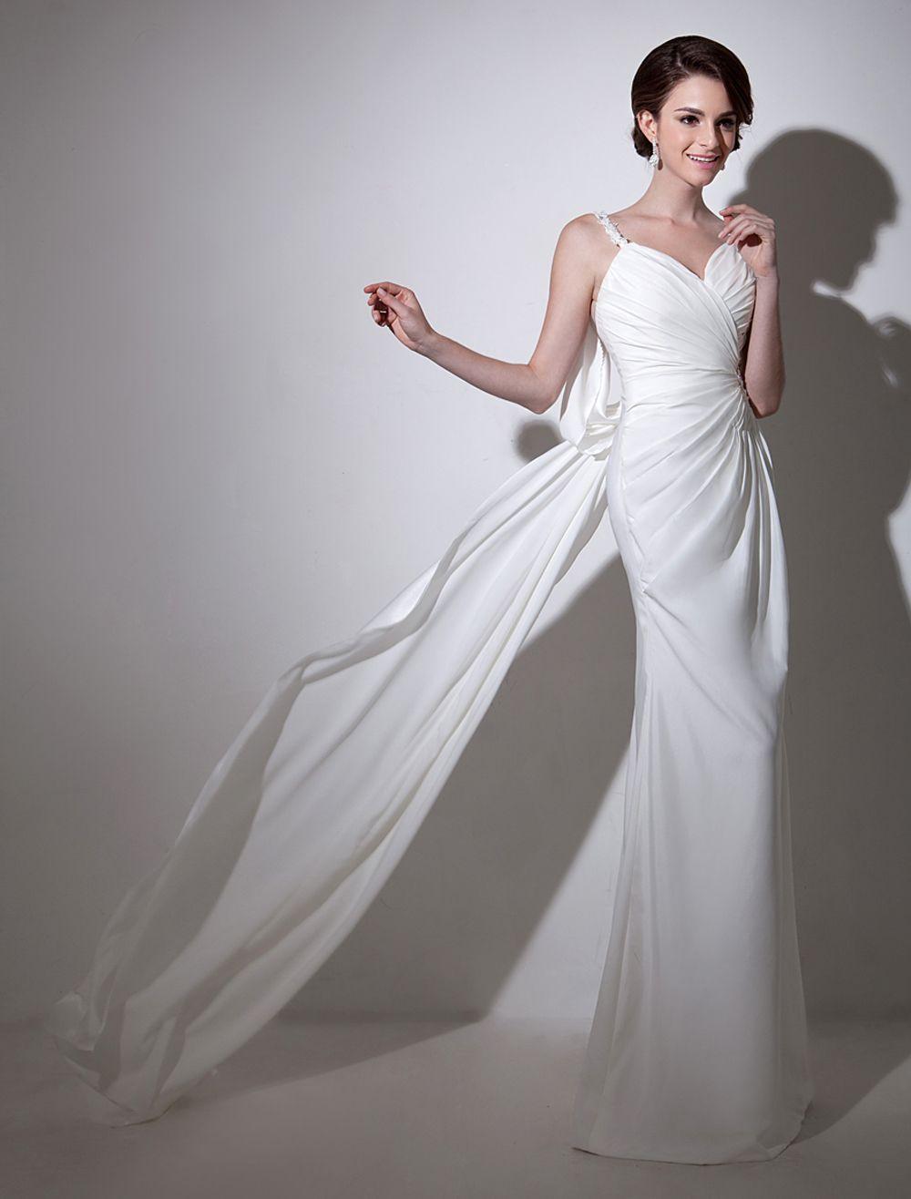 Luxurious White Elastic Silk backless Bridal Wedding Dress with ...
