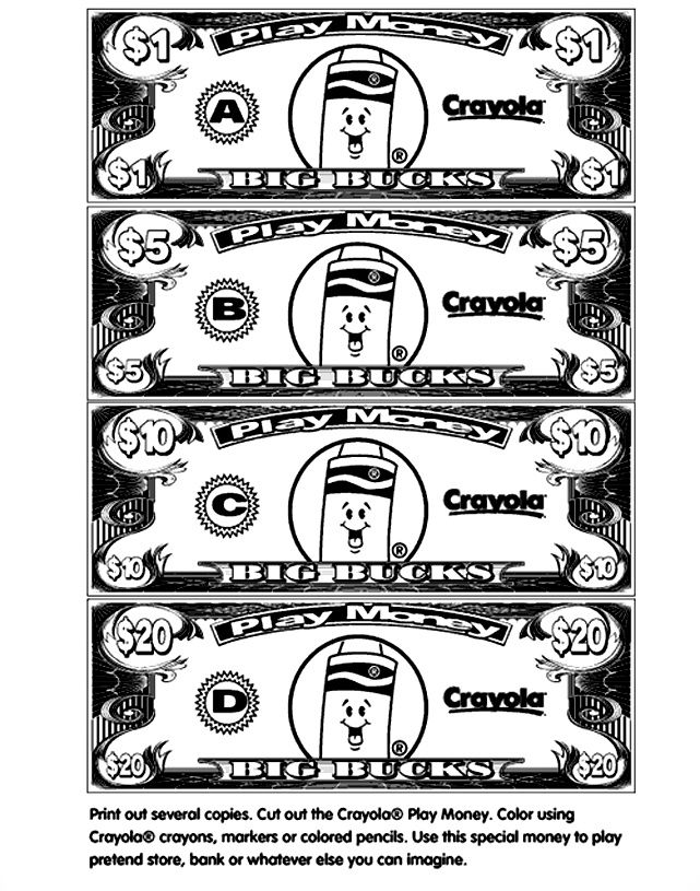 Money Coloring Pages For Kids Printable Play Money Play Money Template Play Money