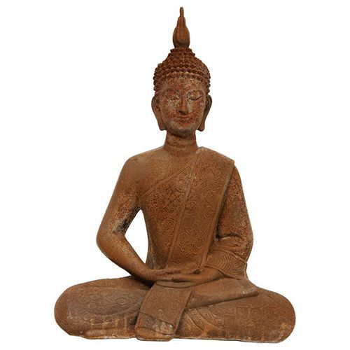 Brown 11-Inch Tall Thai Sitting Zenjo-In Rust Patina Buddha Statue