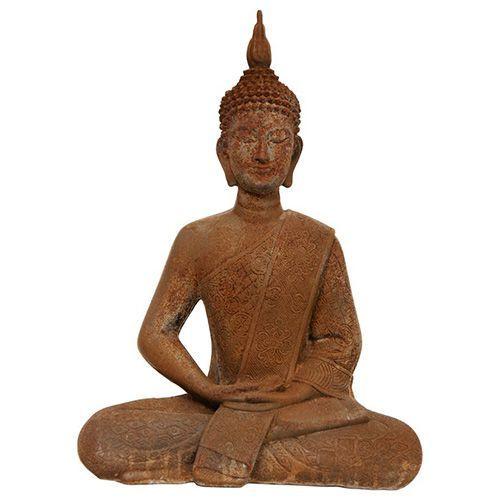 Brown 11-Inch Tall Thai Sitting Zenjo-In Rust Patina Buddha Statue