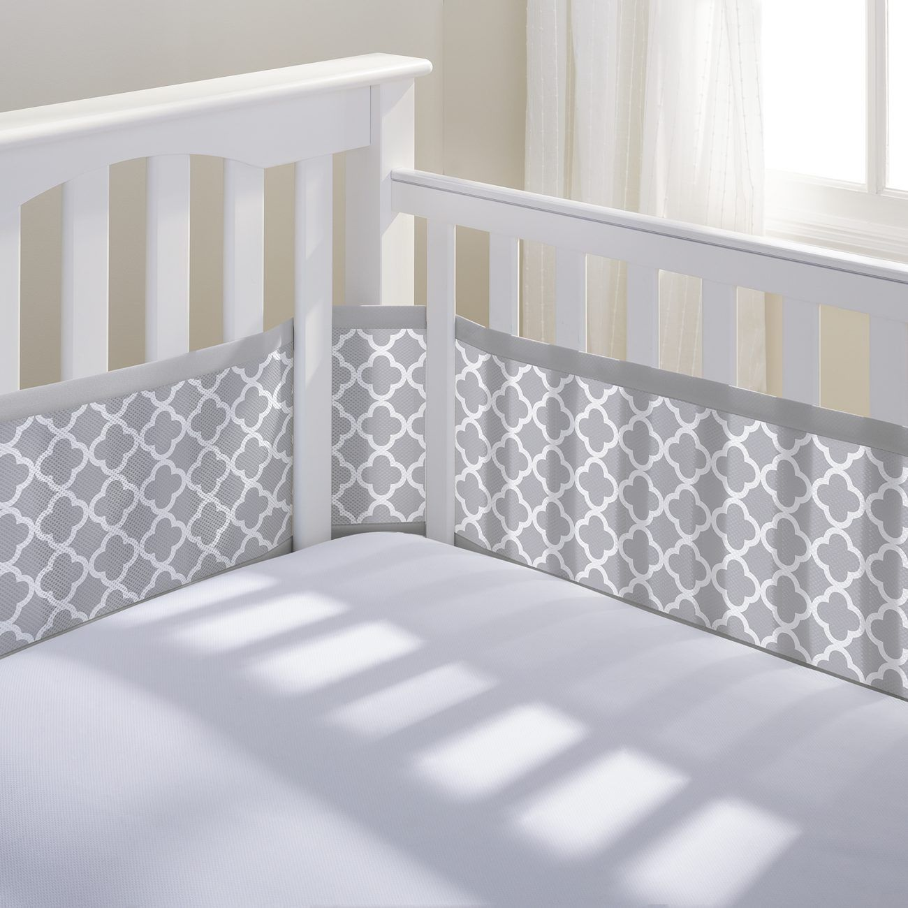 Crib for sale gatineau - Breathable Baby Mesh Crib Liner Gray Clover A Safe Bumper For Baby S Crib Made Of