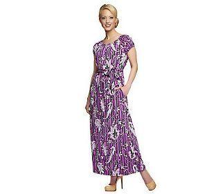 Bob Mackies Floral Print Elastic Waist Maxi Dress Petite Fit