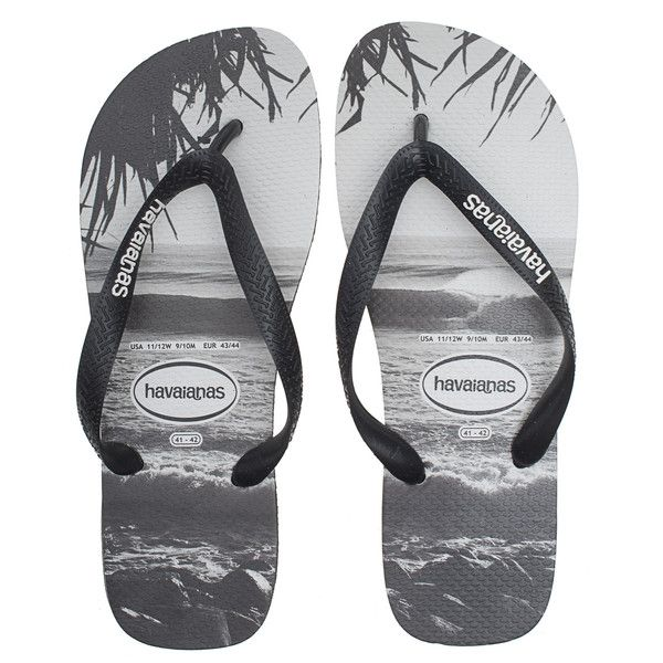 HAVAIANAS Beach White Black // Flip flops with print (£23) ❤ liked
