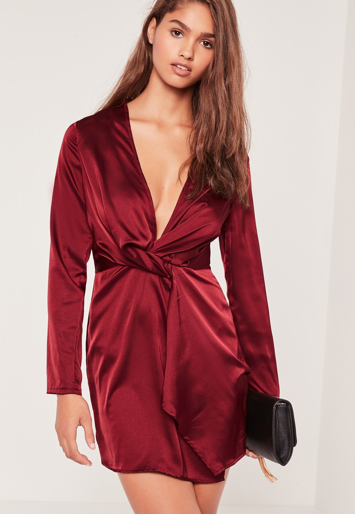 Missguided - Silky Plunge Wrap Shift Dress Burgundy  95d0bd30d7aa