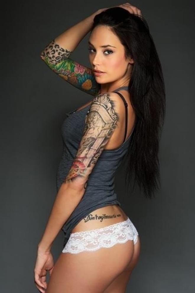 Half naked with tattoos sexiest women