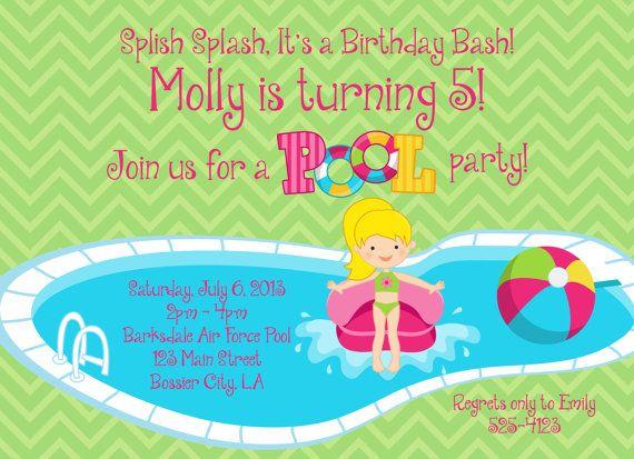 Birthday Invitation Pool Party for Girl Splish Splash Itu0027s a - birthday invitation pool party
