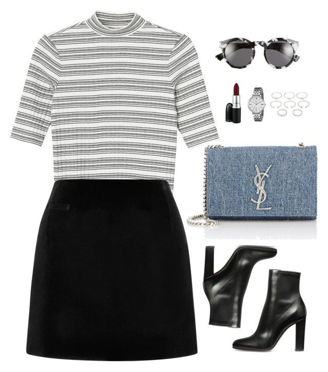 """Untitled #976"" by romane-inspiration ❤ liked on Polyvore featuring Yves Saint Laurent, Monki, Marc Jacobs, Illesteva, FOSSIL, MAC Cosmetics and Forever 21"