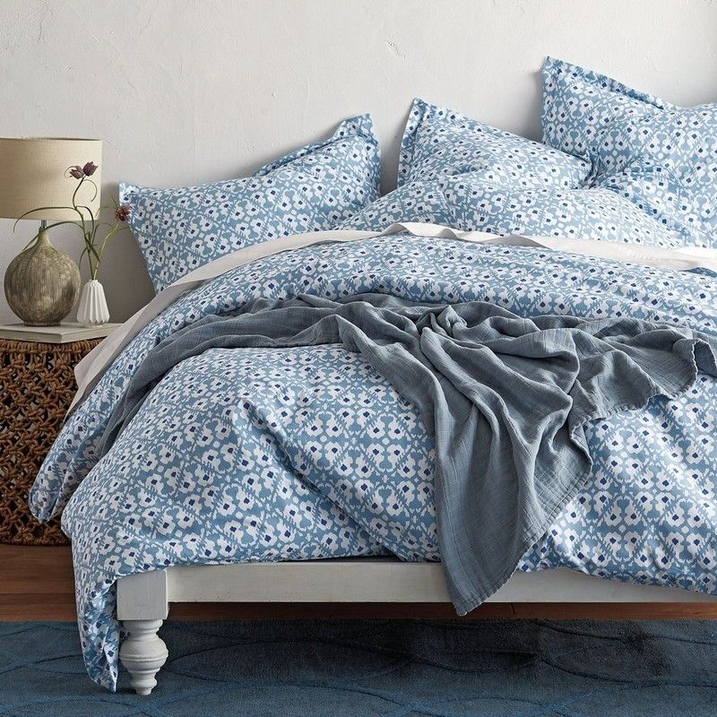 Desert Ikat Percale Duvet Cover Cast In Cool Coastal Shades Of