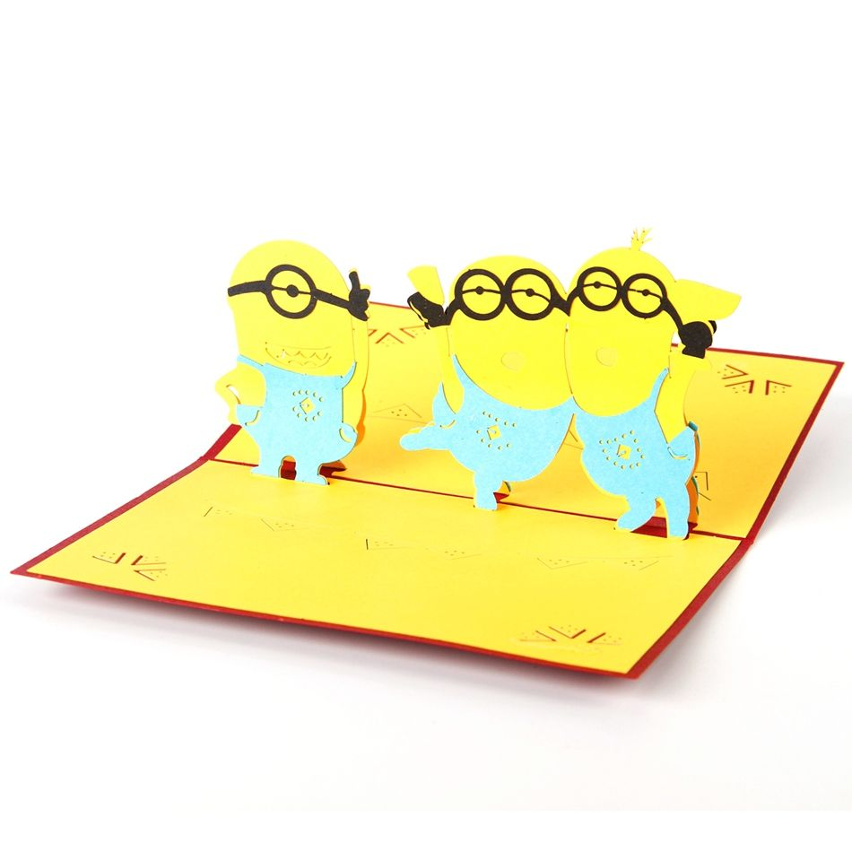 Mini Cute Man Anime 3d Paper Laser Cut Pop Up Kids Birthday Greeting