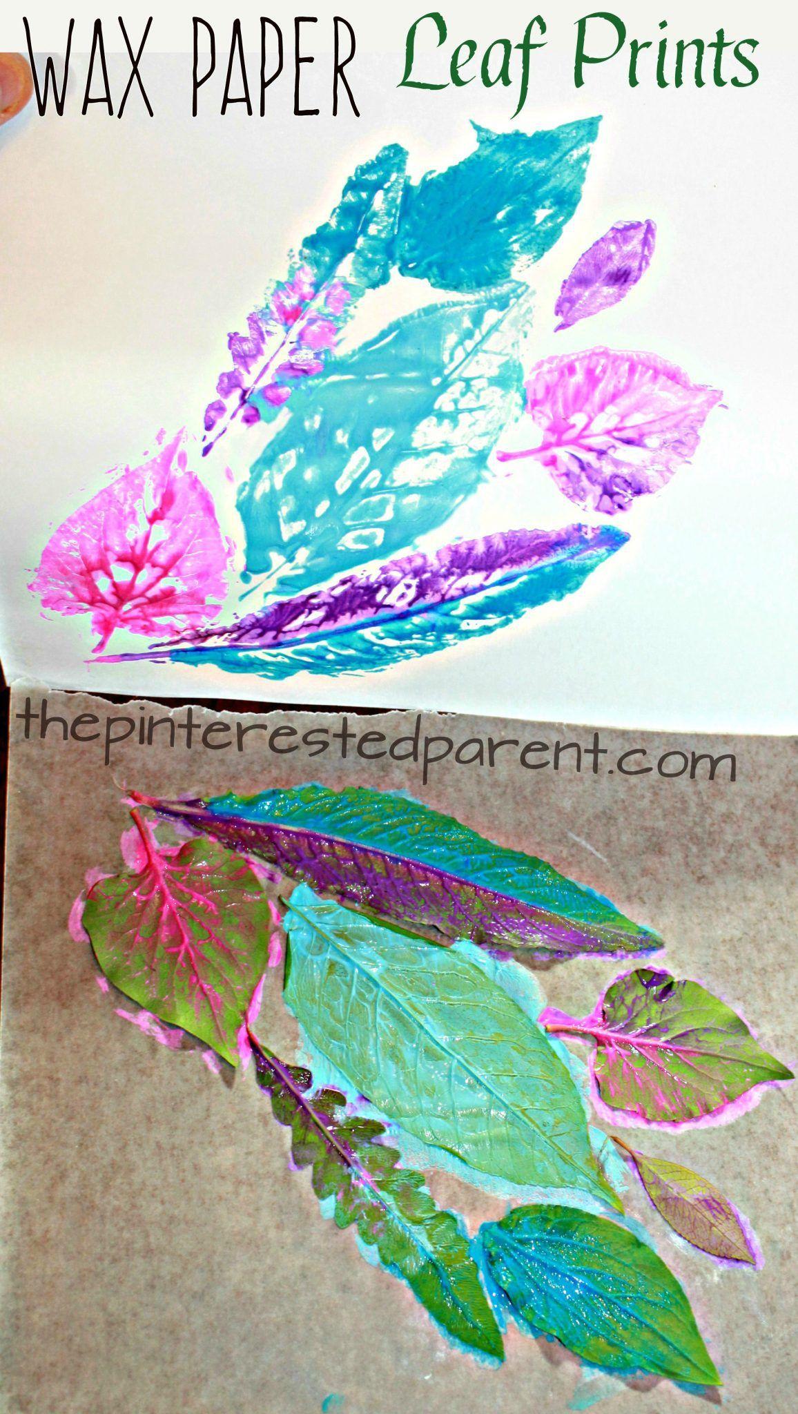 Wax Paper Leaf Prints