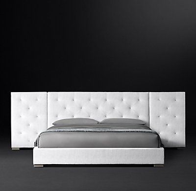 Best Modena Extended Panel Diamond Tufted Fabric Platform Bed 640 x 480