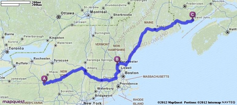Driving Directions from Bentley Creek Pennsylvania to Saint John