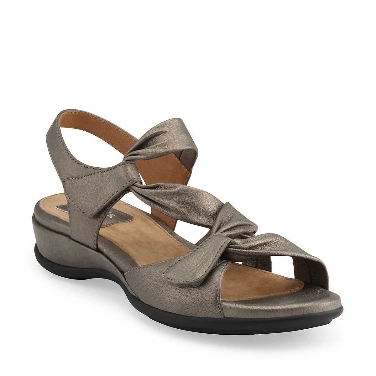 Wide Width Shoes, Wide Shoes, Metallic Leather, Black Leather, Women  Sandals, Clarks, Pewter, Leather Sandals, Marshmallow