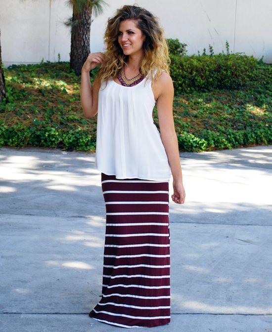 46f6ab7b33  22.99 Maroon and White Stripe Maxi Skirt. I Want!!!