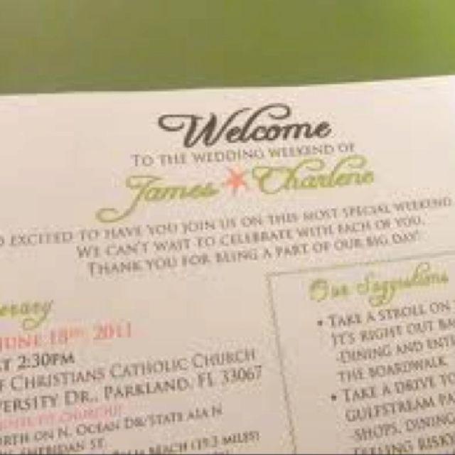 Wedding Welcome Letter  Oot Bags    Wedding