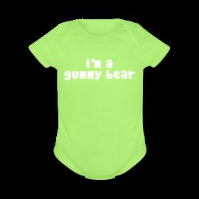 Im A Gummy Bear Lyrics Organic Short Sleeve Baby Bodysuit The Official Gummibar T Shirt Shop Baby Shorts Shirt Shop Cry It Out