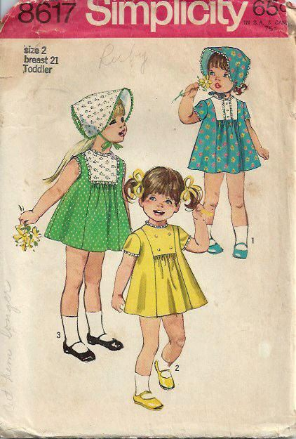 VTG Toddlers Dress and Bonnet Pattern by DawnsDesignBoutique, $11.00