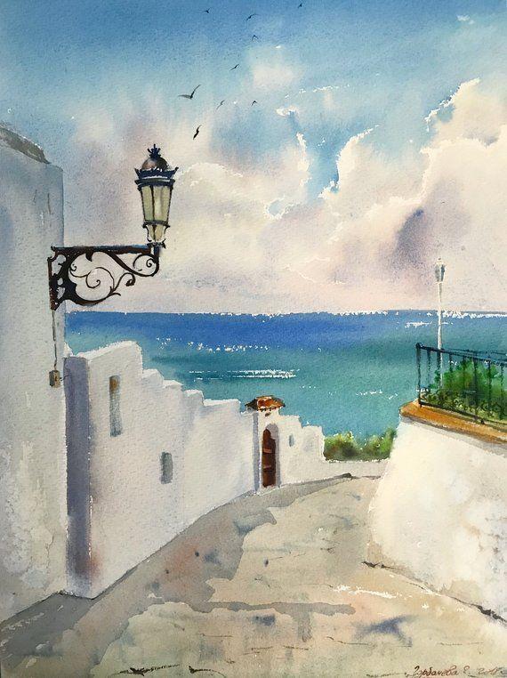 Street Lamp On The Greek Island Of Santori Watercolor Painting