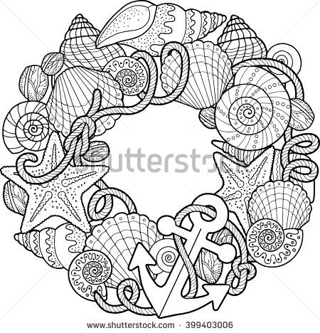 Round frame made of shells. Coloring pages. Vector