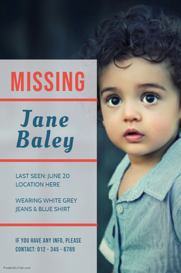 Missing child poster template Missing Poster Templates Pinterest