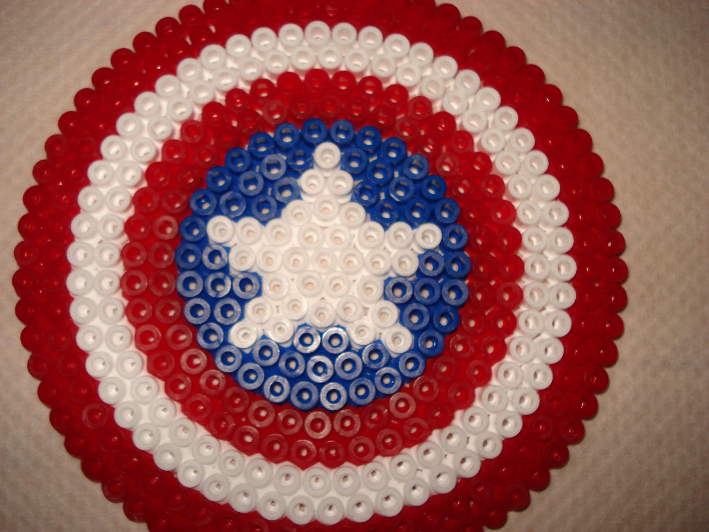 bouclier captain america perles repasser hama marvel. Black Bedroom Furniture Sets. Home Design Ideas